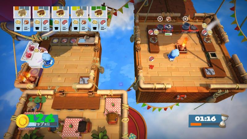 オーバークック2の空中キッチンギミックの様子