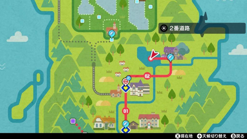剣盾ヒンバスが出現する場所の地図