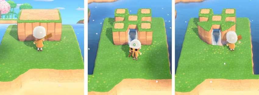 ポツンとたつ崖と滝-作り方