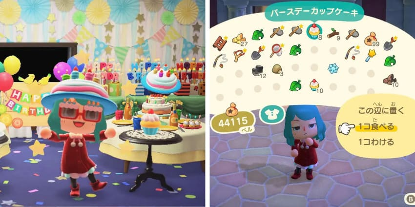 バースデーカップケーキを飾る